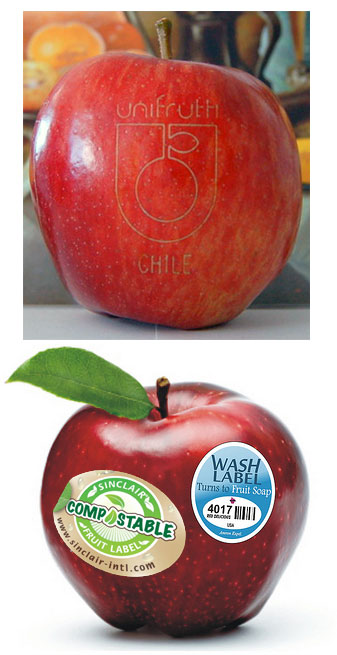 Laser Tattoo, Compostable or Washable Fruit or Vegetable Produce Labels