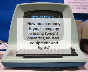 Wasting Money on Unused Computer Equipment and Lights at Night